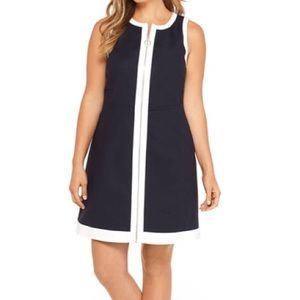 [The Limited] Navy White Zipper Front Midi Dress